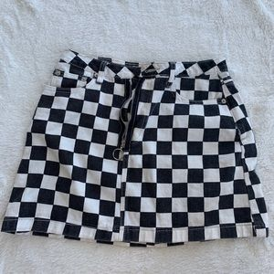 fashion nova checkered skirt